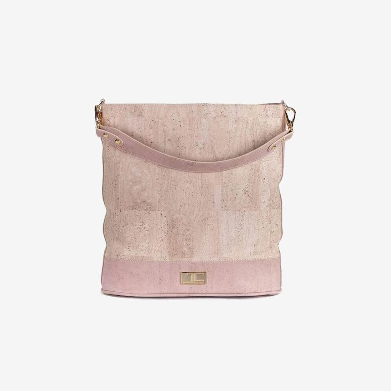 Frontansicht JANA Shopper Tasche in beige rosé aus nachhaltig produziertem Kork von Jorge Carmo