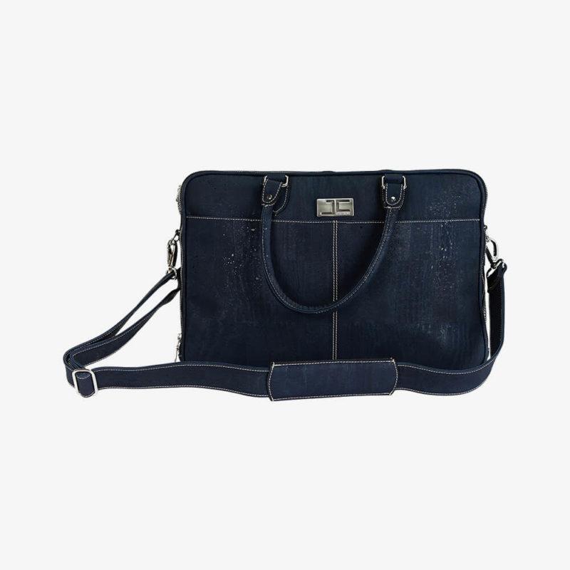 Laptophülle RALF dunkelblau aus Kork von Jorge Carmo mit Henkel und Schultergurt vordere Ansicht